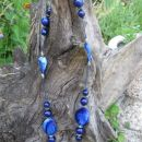 320 Verižica modra akrilne perle+les+kovinski delčki*