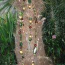 322 Verižica zeleno-rjavo-zlata dvojna akrilne perle+kovinski delčki+les*