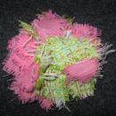 11 Broška cvet roza-zelena blago (M)