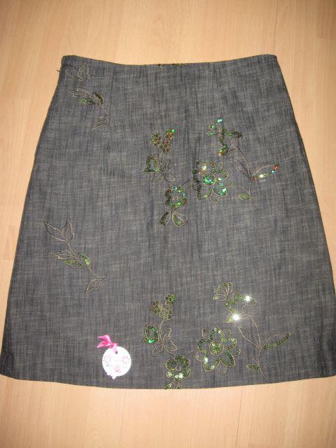 104 Jeans zelenkasto krilo z bleščicami (M)