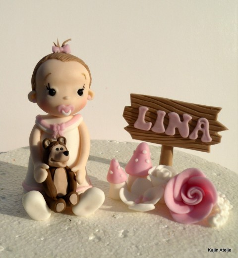 Figurica za torto Punčka z medvedkom