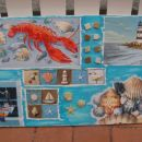 slika na platnu, 5 različnih servetkov, nekaj starih mozaik ploščic in umetnih školjk